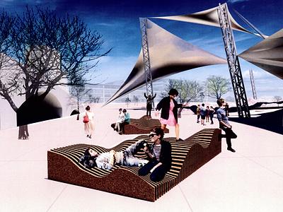 Undulating Cork Urban Structure  - Render 3d model architecture urban design industrial design furniture seating cork industrial design