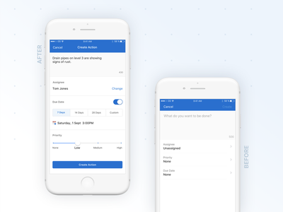 Create An Action toggle switch slider uxdesign taskapp iauditor beforeafter uxui safetyculture ui design ux