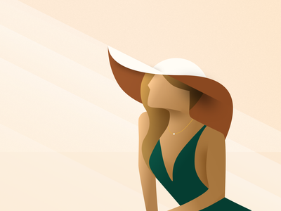 Lady In The Sun hat lady sunbathing golden ratio ui design vector digital-drawing illustration