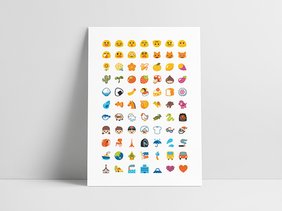 Android Blobs Emoji Poster emoticon showcase classic minimal clean icon cute simple poster google android emoji