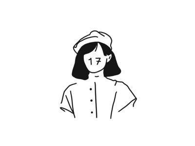 17 minimal mono girl illustration graphic flat fashion face emotion design