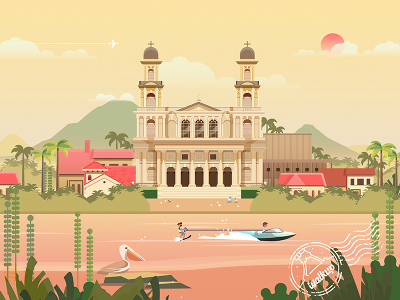 Postcards from managua, Nicaragua lake church bird city postcard illustrations