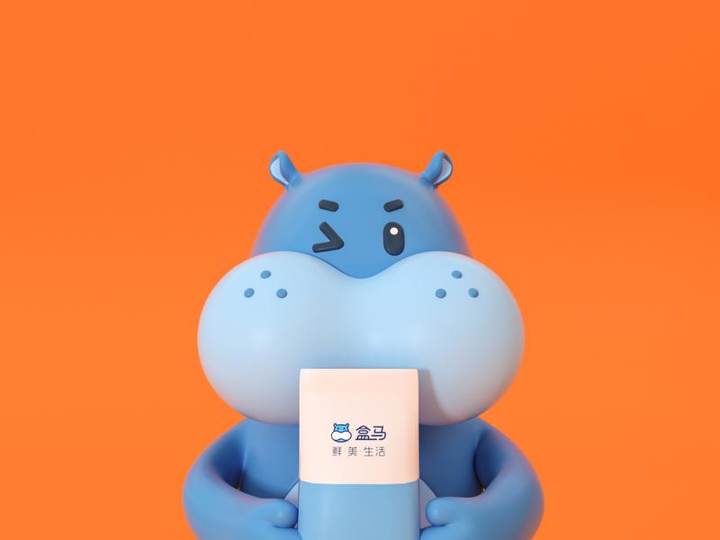 盒马双十二 mascot letter illustration ui three-dimensional design 三维 c4d