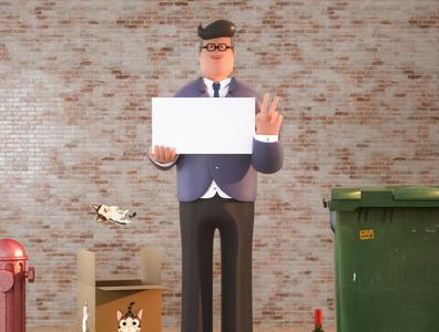 Villain roles letter mascot illustration ui three-dimensional design 三维 c4d