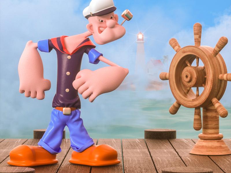 Popeye the Sailor roles mascot illustration ui three-dimensional design 三维 c4d