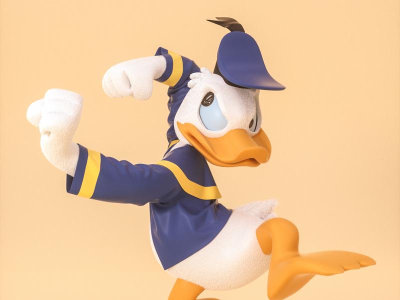 """Don""Donald  Fauntleroy Duck-唐老鸭 唐老鸭 character letter roles mascot illustration ui three-dimensional design 三维 c4d"