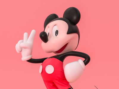 Mickey Mouse-米老鼠 米老鼠 character letter roles mascot illustration ui three-dimensional design 三维 c4d