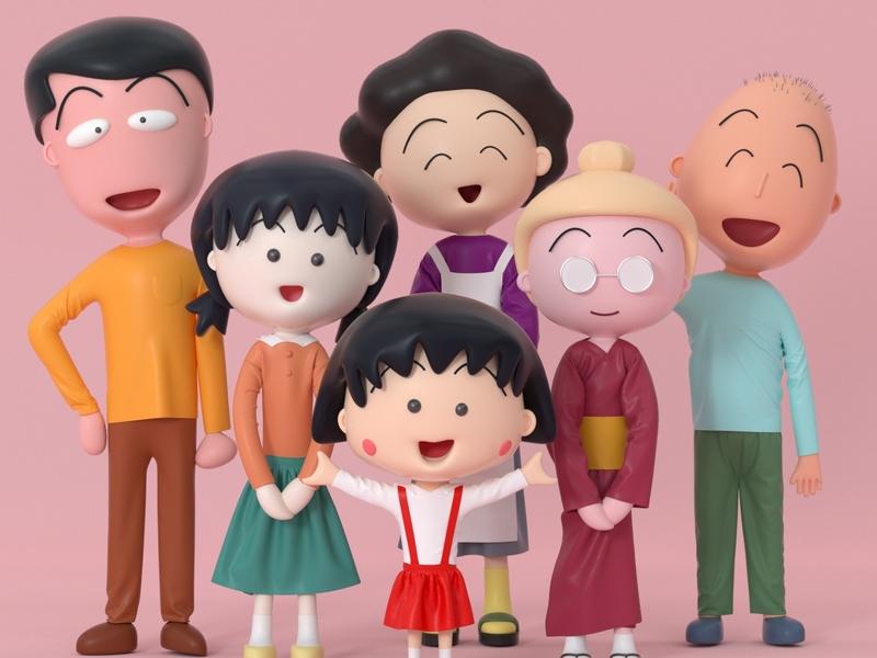 樱桃子(さくら ももこ)Chi-bi Maruko 樱桃子(さくら ももこ) character letter roles mascot illustration ui three-dimensional design 三维 c4d