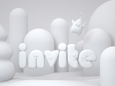 invitation three-dimensional illustration 三维 design c4d invitation