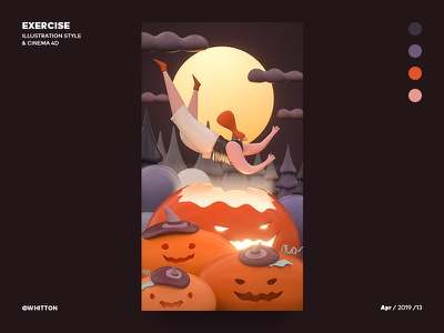 Illustration to 3D - Halloween halloween illustration ui three-dimensional design 三维 c4d