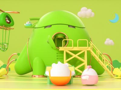 Midea Family roles mascot illustration ui three-dimensional design 三维 c4d