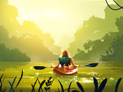 Adventure With The Dog adventure dog canoeing 插图 illustration