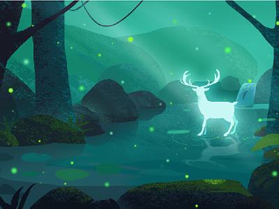 Drinking water in the empty woods woods elves deer 插图
