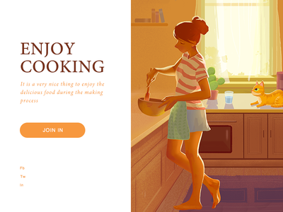Enjoy Cooking girl the cactus cooking cat 插图