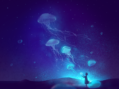 Jellyfish Starry Sky dream jellyfish 插图