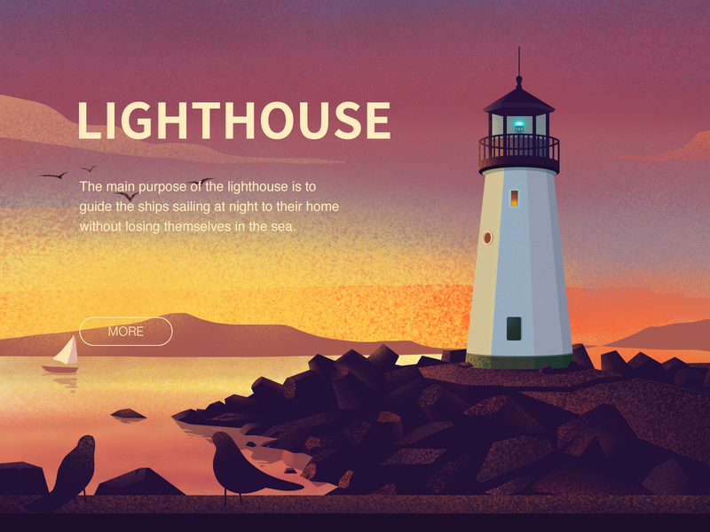 LIGHTHOUSE bird sailing design illustrations home lighthouse