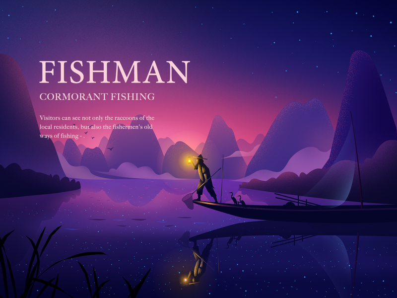 Cormorant Fishing starry sky fishmen river cormorant fishing 插图