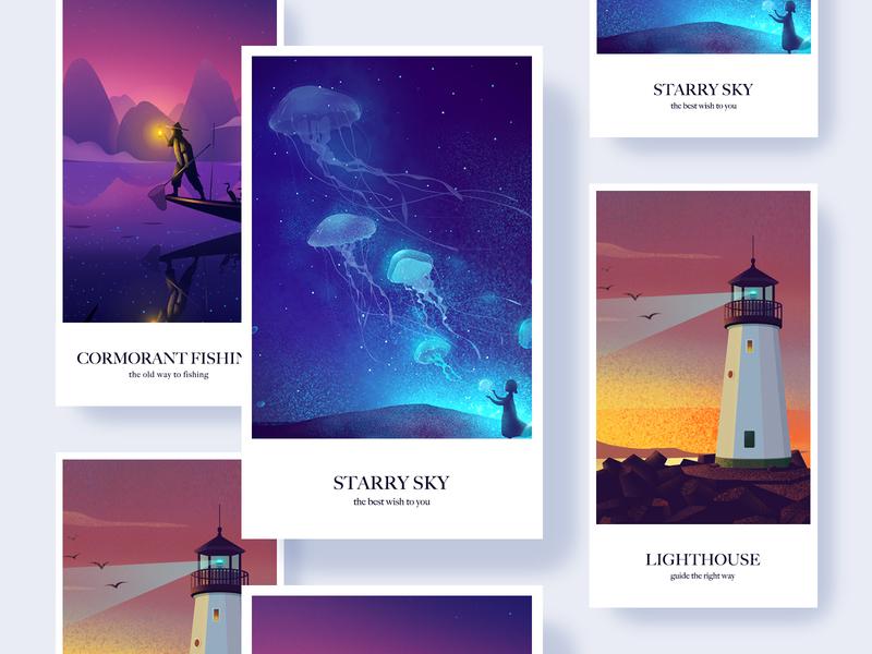 Good April fishing lighthouse stars sky april illustrations