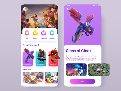 Game Store illustration illustrations mobile ui boom beach angry birds clash of clans store game store game