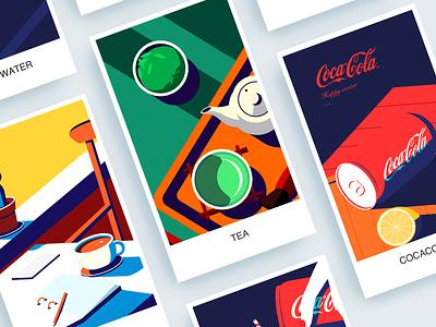 Popular Drink illustrations coffee tea cola illustration