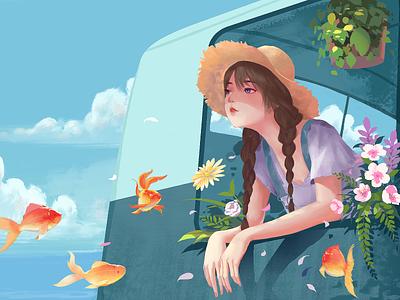 Flower sea girl straw hat goldfish white clouds blue sky sea flower illustrations