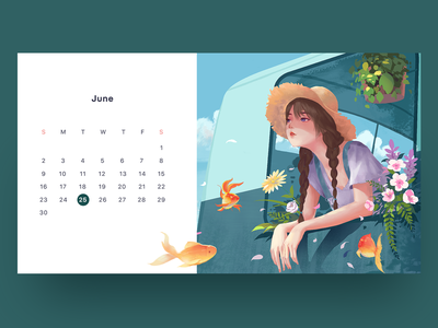 Illustrations calendar girl illustrations