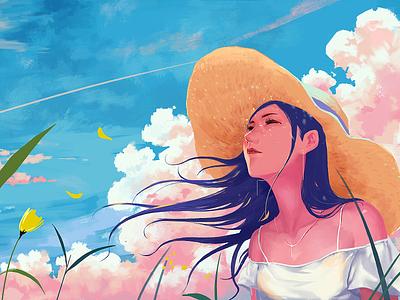 July pink cloud flower girl illustrations