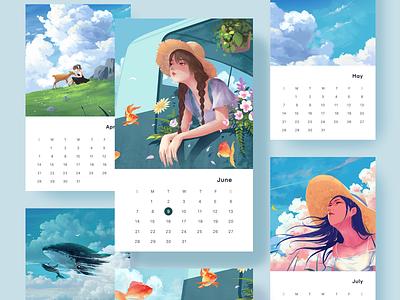 Illustrated calendar illustration