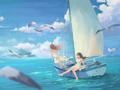 Summer in August blue sky cloud sailboat sea bird boat ship summer girl illustrations