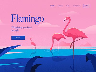 Flamingo beach sea flamingo bird summer illustration