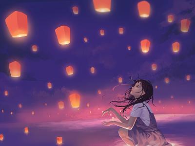 Happy Mid-autumn Day mid-autumn festival lantern girl illustration