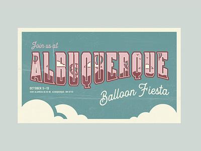 Postcard Poster hot air balloon vector illustrator albuquerque hand lettering illustration design poster ballon vintage postcard festival