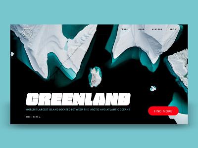 ICEBERG GREENLAND LANDING minimal design typography explore visit greenland landing page uidesign ui app web