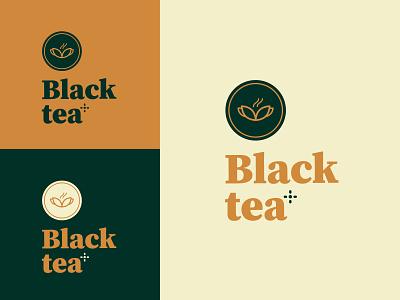 Black Tea Logo Brandig vector illustration icon logotype label flavours packaging design brand tea cup typography beverage drink tea logo tea