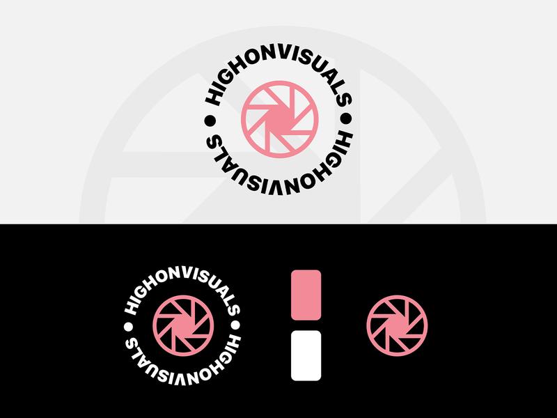 HIGH ON VISUALS LOGO visual graphics visual icon logotype vector branding logo design shape geometry minimal design typography logo