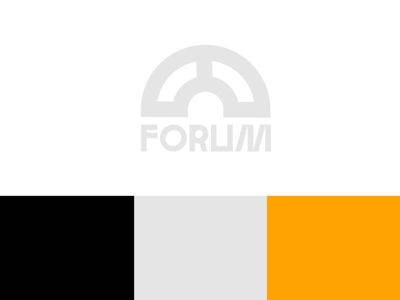 ARCH FORUM typo modern minimalist logo shape design logotype flat logo branding illustration geometry minimal typography