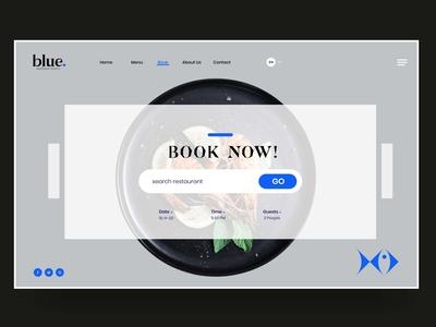 BLUE SEAFOOD AND BISTRO bistro restaurant fish landing website web designer onepage flat logo shape minimal typography branding ux ui illustration seafood food design