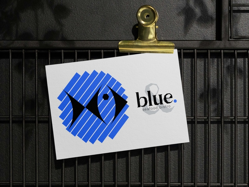 BLUE - BUSINESS CARD blue restaurant branding seafood fish bistro restaurant logotype flat black logo branding geometry shape minimal design typography businesscard