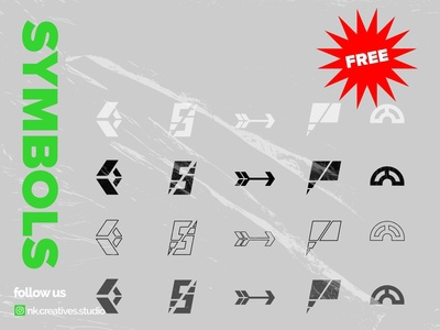 5 FREE SYMBOLS PACK type symbolset package freebies black abstract logo branding illustration geometry shape minimal freelance marks symbols free typography gumroad