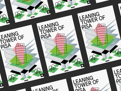 Leaning Tower Of Pisa city italy towers pisa building monument green artwork architecture vector flat geometry shape minimal design typography illustration poster tower