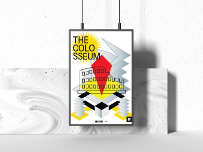 The Colosseum poster design poster roman building culture architecture italy cityscape city monument shape illustrator vector geometry minimal design typography illustration rome