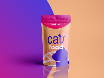 Pouch Packaging Cat Food pouch design pouch gradient animal logo typo package design food illustration flat logo branding illustration geometry shape minimal design typography packaging food cat