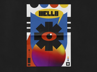 HELLO print posters poster art poster artwork poster a day illustration shape design typography geometry poster plakat