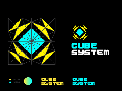 Cube System tech wear system cube tech logotype illustration vector geometry shape minimal design branding logo graphic design typography