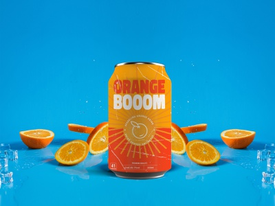Orange Boom orangecolour sun labeldesign label oranges sodapop fruit branding beverage packaging beverage design beverage drinks seltzer orangesoda orange drink dribbbleshot dribbbleweekly dribbbleweeklywarmup soda