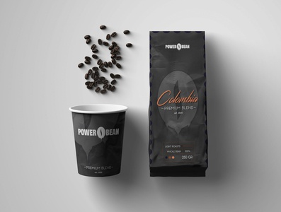 POWER BEAN - COFFEE PACKAGING LABEL & CUPS