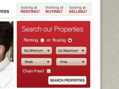 Property Search search navigation form