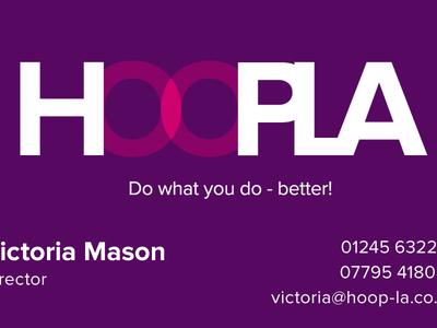 Hoopla Designs logo business card