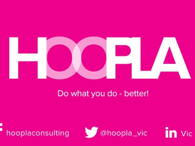 Hoopla Designs logo business card