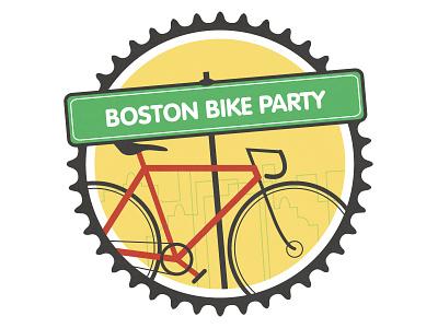 Boston Bike Party bike badge logo boston illustration vector city